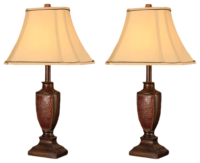 Arty Table Lamps, Brushed Red, Set Of 2.