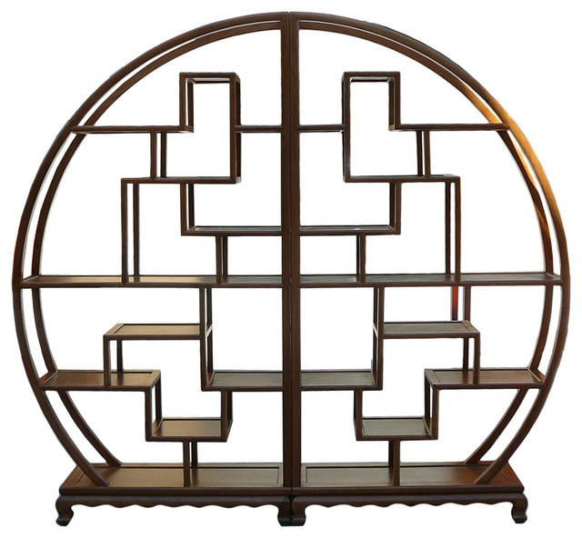 Chinese Round Shape Display Curio Cabient Room Divider Asian Display And Wall