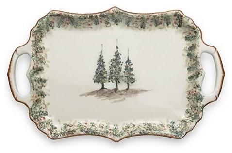 Arte Italica Christmas Natale Rectangular Handle Tray - ChristmasTablescapeDecor.com