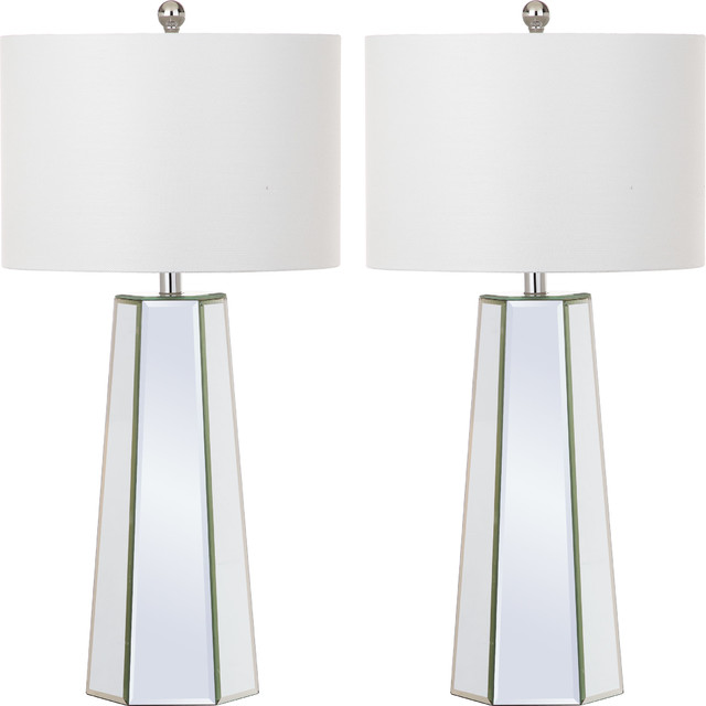Janice Table Lamp, Set Of 2, Clear Body, Off-White Shade.