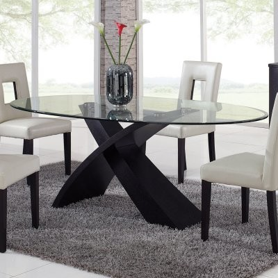 Global Furniture Exclaim Oval Glass Dining Table Modern
