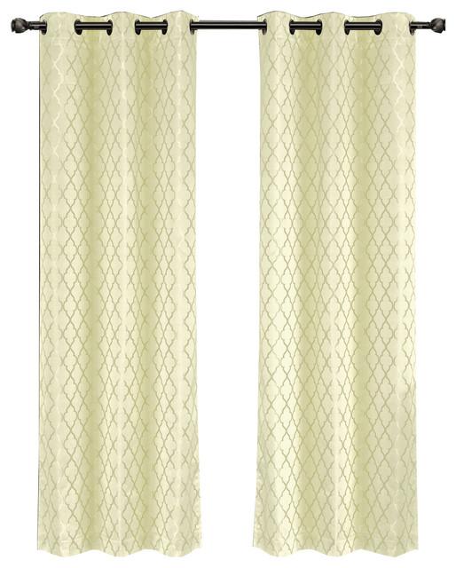 set of 2 willow jacquard grommet blackout curtains