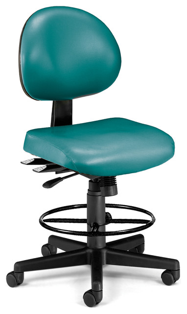 24-Hour Vinyl Computer Chair And Drafting Kit, Teal.