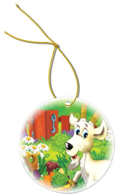 Billy Goat Cartoon Farm Vegetables Design Round Porcelain Christmas Ornament