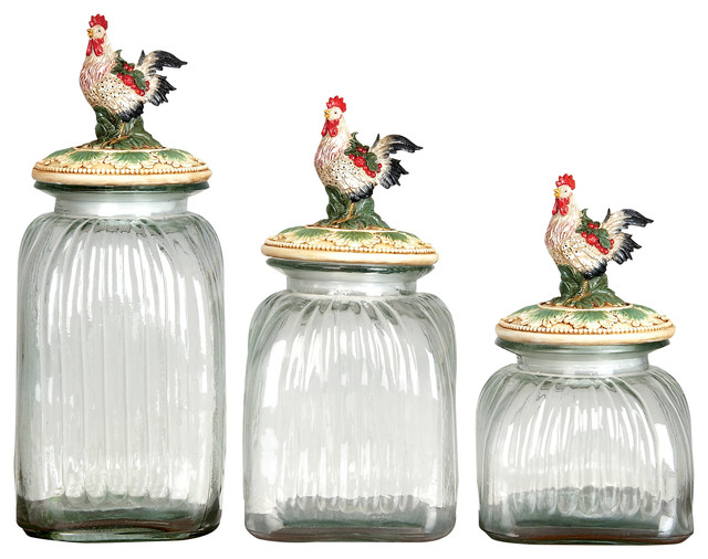 Benzara set of 3 glass canister jars sizes chicken lids for Glass bathroom canisters