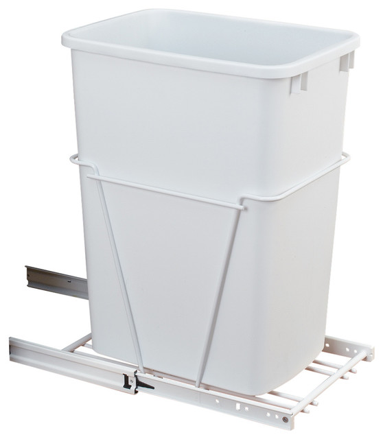 Single 35 qt 10 5 8 wide pull out white waste container for Extension container