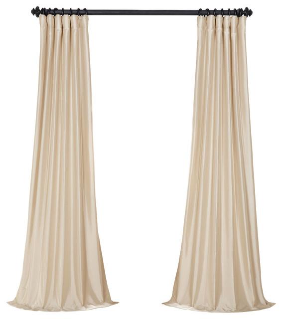 "Antique Beige Fauxsilk Taffeta Curtain Single Panel, 50""x120""."
