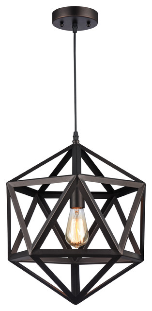 Chloe Lighting Osbert Industrial Oil Rubbed Bronze 1 Light Pendant.