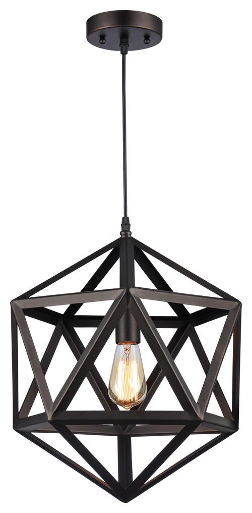 Chloe Lighting Osbert Industrial Oil Rubbed Bronze Geometric Pendant Light