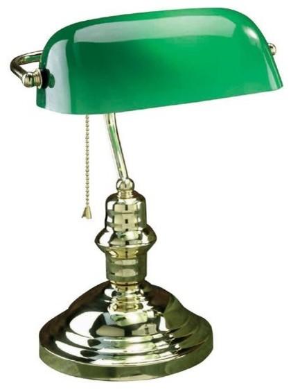 Banker S Lamp Polished Br Gl Green Shade
