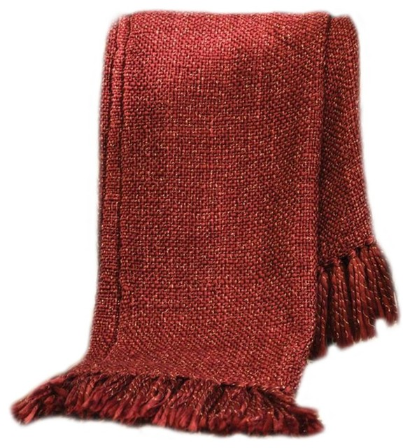 Gold Thread Throw, Red.