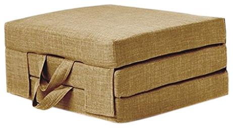 Futon Guest Mattress, Polyester, Carry Handles, Modern Design, Single, Sand
