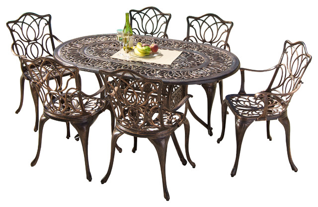 Gardena Outdoor Cast Aluminum Dining 7 Piece Set Transitional Outdoor Dining  Sets