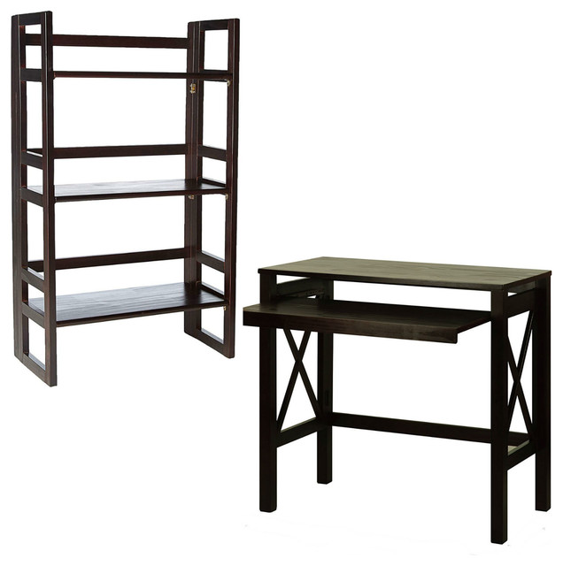 Folding Desk Pull Out Tray With 3 Shelf Student Bookcase 20 75 Wide