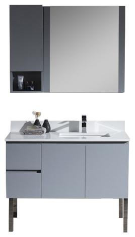 "Monaco 42"" Right Basin Base Metal Gray Vanity With Chrome ..."