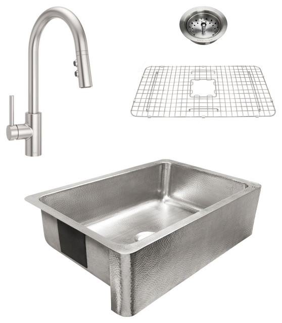 """Percy Brushed Stainless All-in-One 32"""" Farmhouse Single Bowl, Stainless Faucet"""