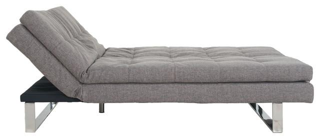 Fabric Fiber Sofa Bed Sofabed Lounge, Soft Cushion, Metal Legs, Dark Gray.