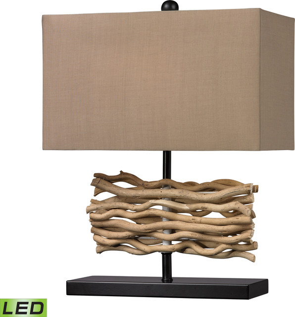 natural driftwood table lamp 16 black natural wood resin 1 light traditional table lamps. Black Bedroom Furniture Sets. Home Design Ideas