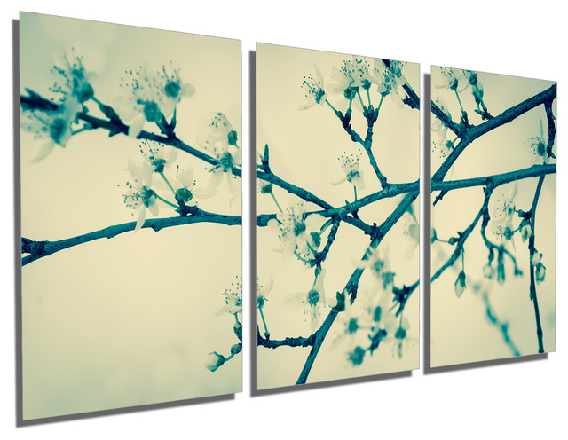 Triptych Wall Art cherry tree blossom, metal print wall art, 3 panel split, triptych