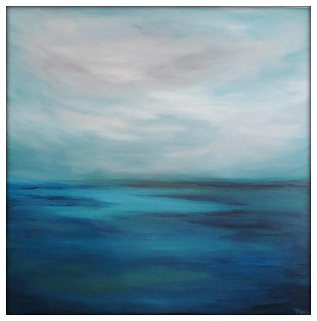Large Seascape Abstract Painting on Canvas Modern Acrylic Skyline- 40x40- Blues,