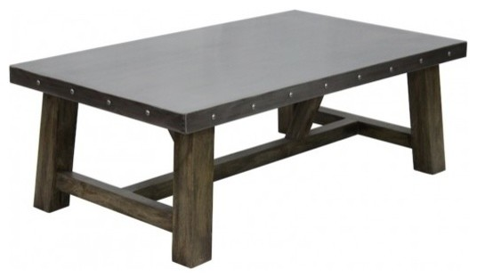 Delightful Zinc Coffee Table Industrial Coffee Tables