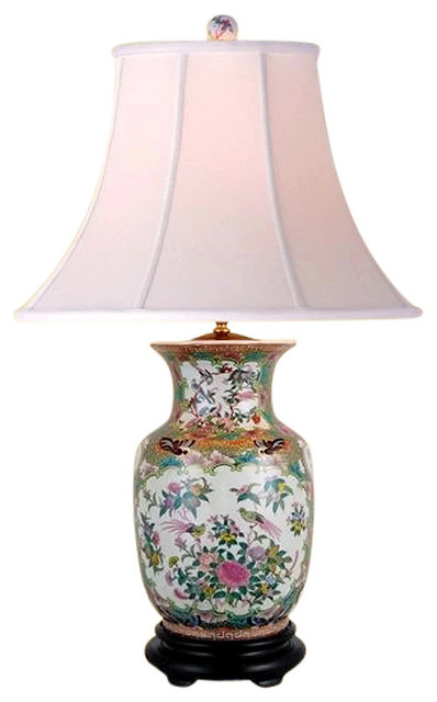 "Oriental Chinese Porcelain Rose Canton Vase Table Lamp 30""."
