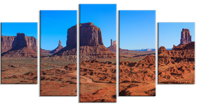 """monument Valley National Park"" Landscape Artwork Canvas, 5 Panels, 60""x32""."