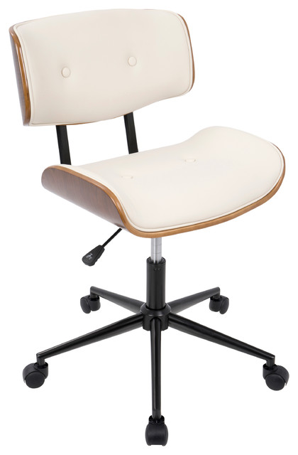 Andrei Office Chair, Walnut And Cream Faux Leather.