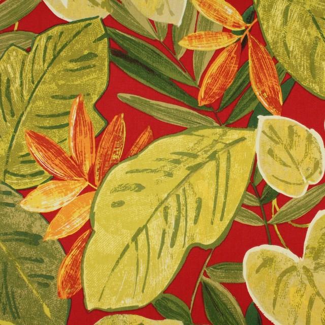 Firebird Green Orange Red Yellow Leaf Print Upholstery Fabric