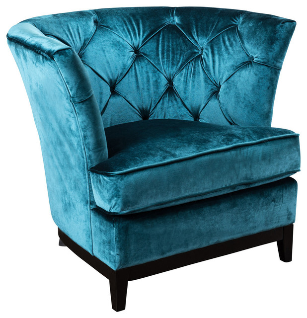 Anabella Fabric Tufted Sofa Chair, Teal Blue by GDFStudio