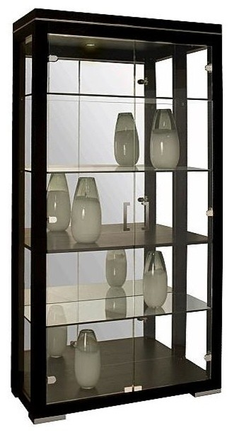 Modern Curio Cabinet with Wenge Finish and Halogen Light ...