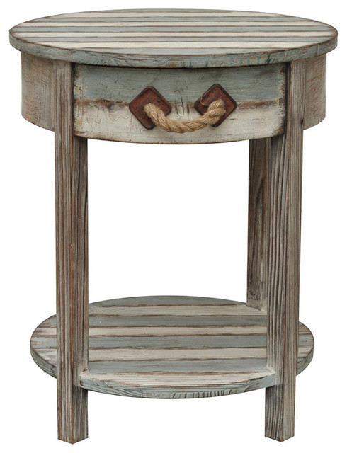 Nantucket 1 Drawer Weathered Wood Accent Table Beach Style Side Tables