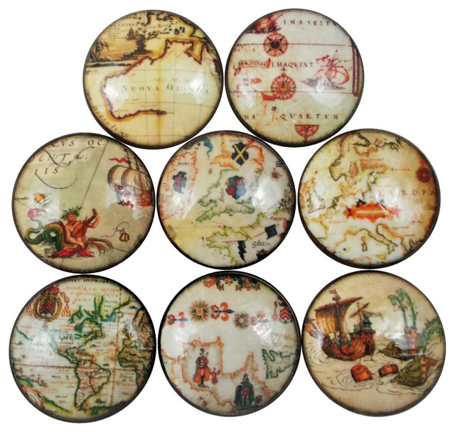Old World Nautical Map Cabinet Knobs, 8-Piece Set - Cabinet And Drawer Knobs - by Twisted R Design