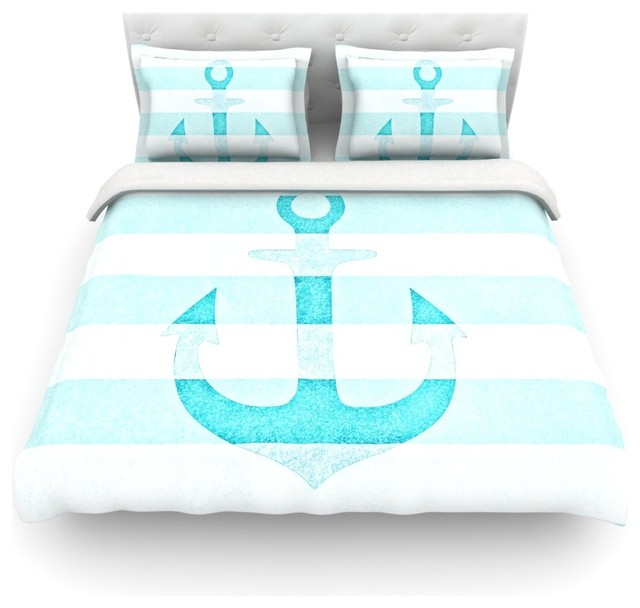 Monika Strigel Quot Stone Vintage Aqua Anchor Quot Cotton Duvet
