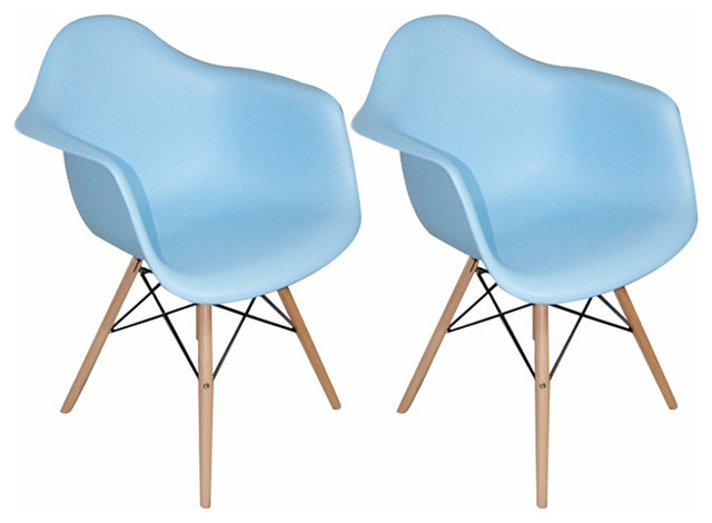 Paris Tower Modern Arm Chair With Wood Legs Set Of 2