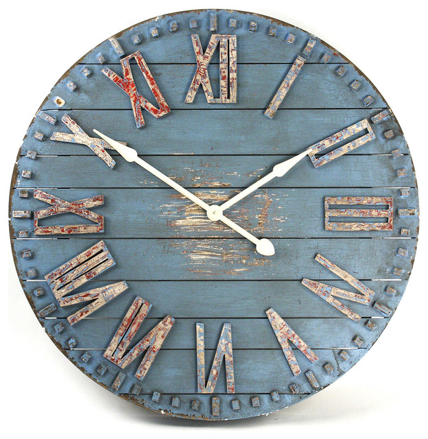 Rustic Beach Cottage Blue Hand Painted Wood Metal Wall Clock ...