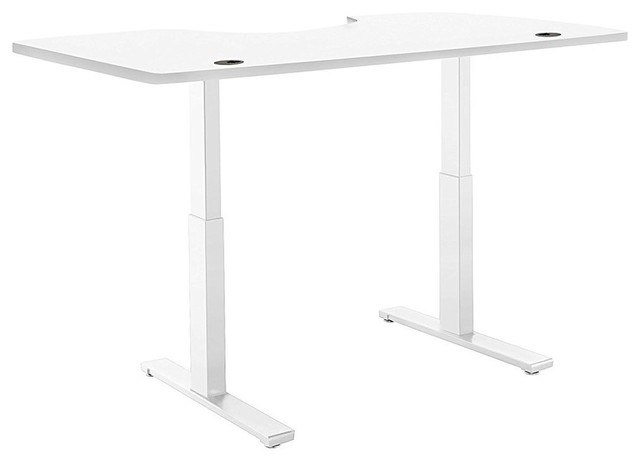 SmartDesk Standing Desk With Electric Adjustable Height, White Ergo Table  Top