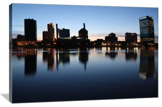 Skyline Of Toledo Ohio Gallery Wrapped Canvas Wall Art