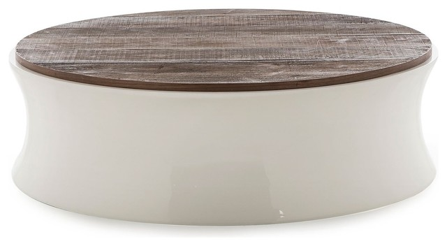 Erving Reclaimed Wood And White Lacquer Round Coffee Table
