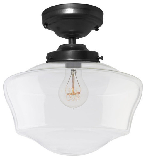Schoolhouse clear glass black flush mount pendant light schoolhouse clear glass black flush mount pendant light traditional pendant lighting aloadofball Gallery