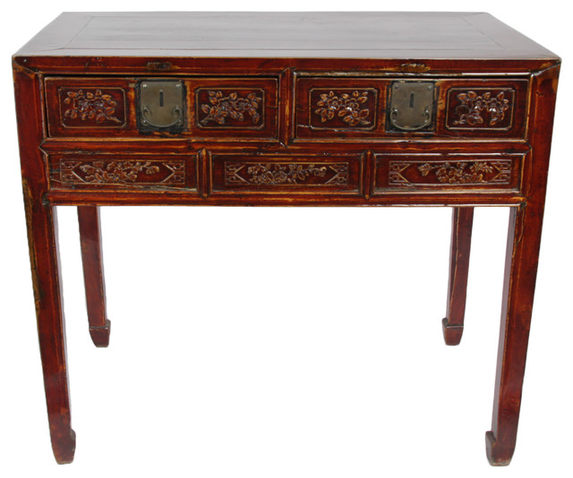Consigned, Hand Carved Chinese Antique Desk - Consigned, Hand Carved Chinese Antique Desk - Asian - Desks And