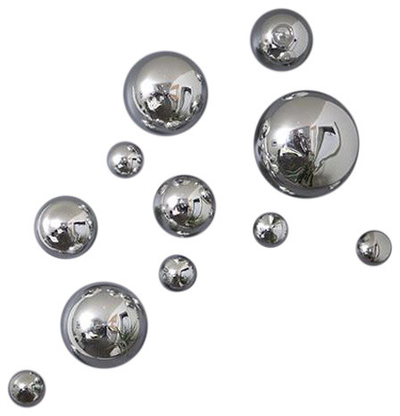 Wall Spheres, Silver, 11-Piece Set.