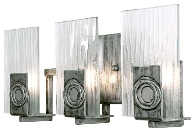Varaluz Polar Light Blackened Silver Vanity Light With Ice: Bathroom Vanity Lighting
