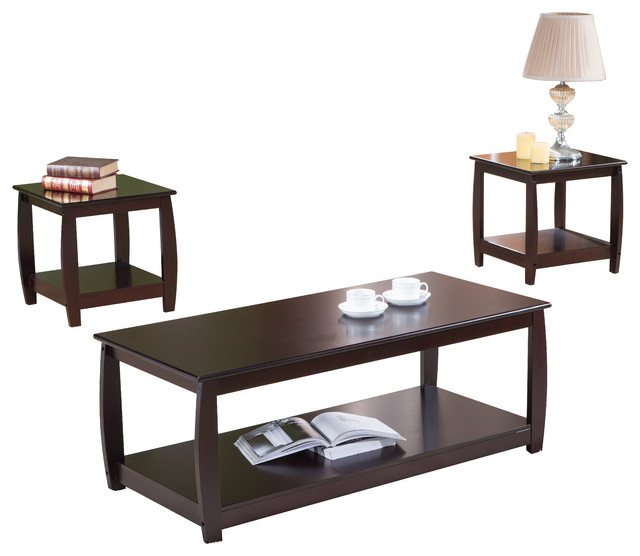 3 Piece Cherry Finish Wood Coffee Table And 2 End Tables Occasional Set Side Tables And End