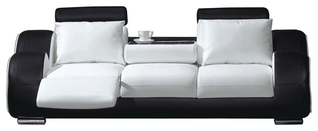 Contemporary Sofa, White and Black