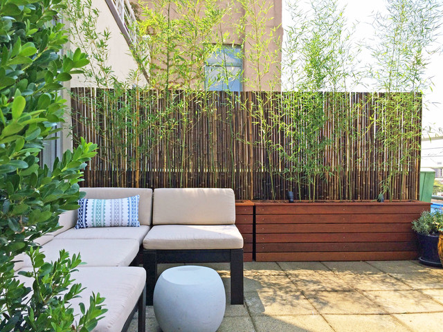 Cobble hill, brooklyn terrace   custom planter boxes, bamboo fence ...
