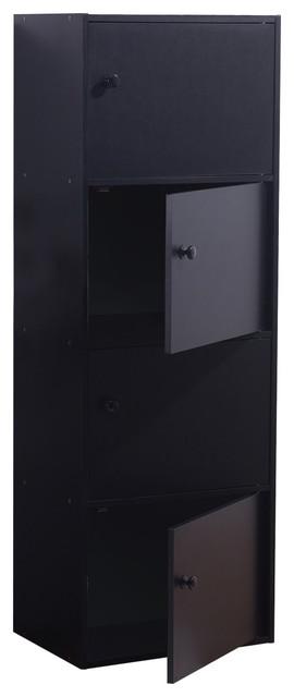 Veronica 4-Door Utility Cabinet With Knob Handle, Black.