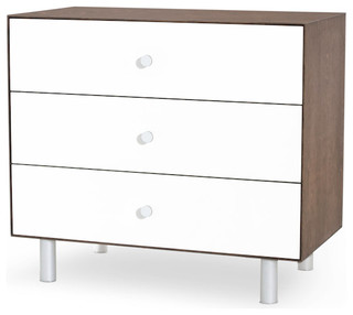 Merlin 3 Drawer Dresser With Classic Base in Walnut/White, By Oeuf