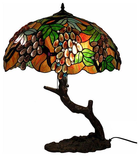 Tiffany Style Oval Grape Bronze Lamp