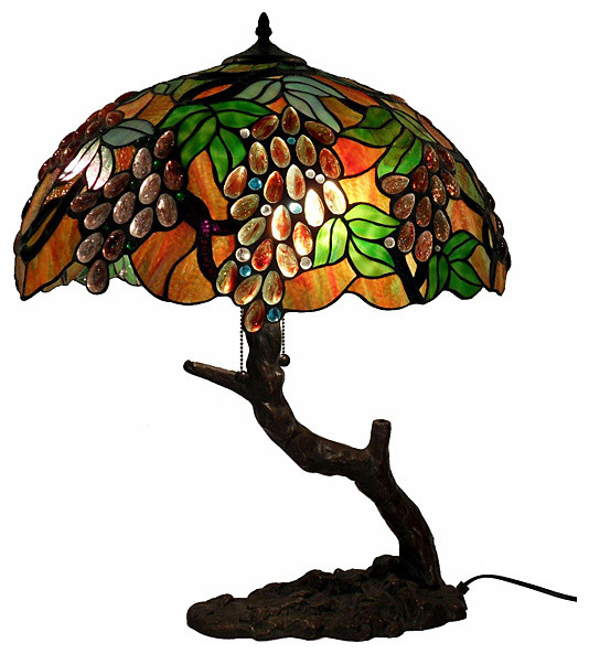 Tiffany Style Oval Grape Bronze Lamp Traditional Table